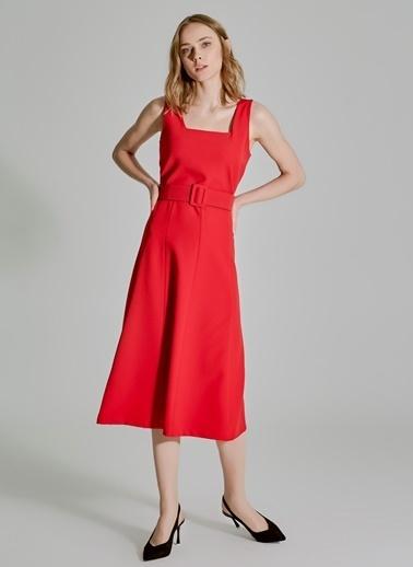 People By Fabrika Kemerli Elbise Kırmızı